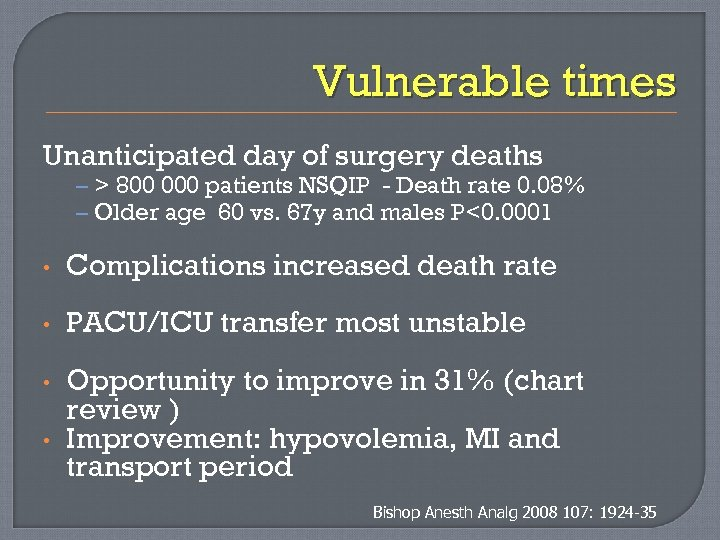 Vulnerable times Unanticipated day of surgery deaths – > 800 000 patients NSQIP -