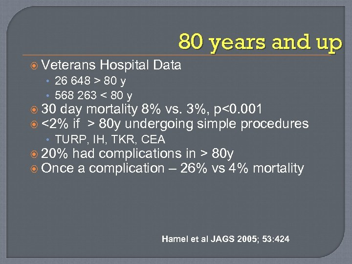 80 years and up Veterans Hospital Data • 26 648 > 80 y •