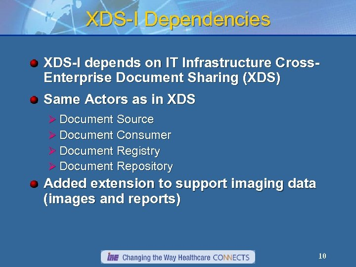 XDS-I Dependencies XDS-I depends on IT Infrastructure Cross. Enterprise Document Sharing (XDS) Same Actors
