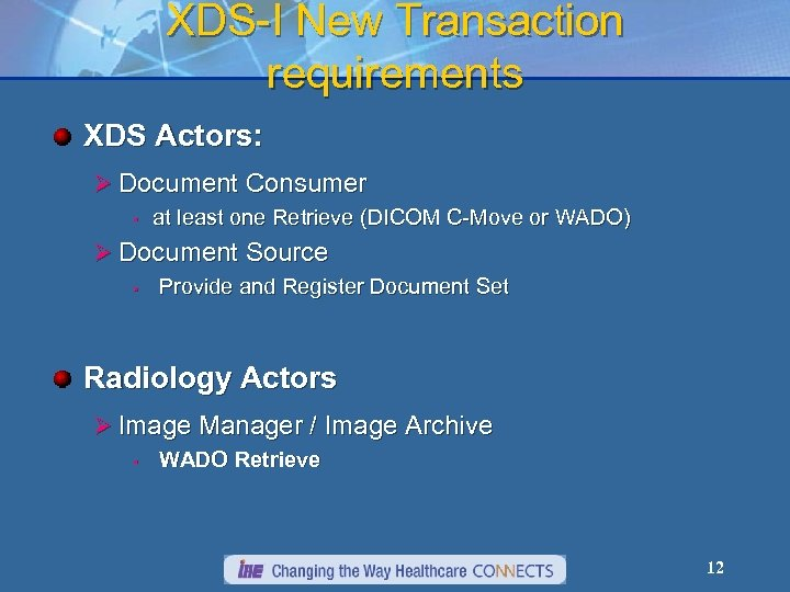 XDS-I New Transaction requirements XDS Actors: Ø Document Consumer • at least one Retrieve