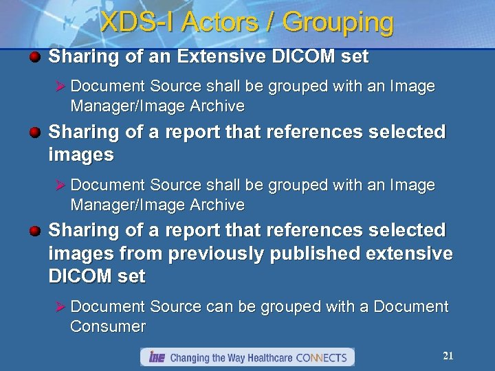 XDS-I Actors / Grouping Sharing of an Extensive DICOM set Ø Document Source shall