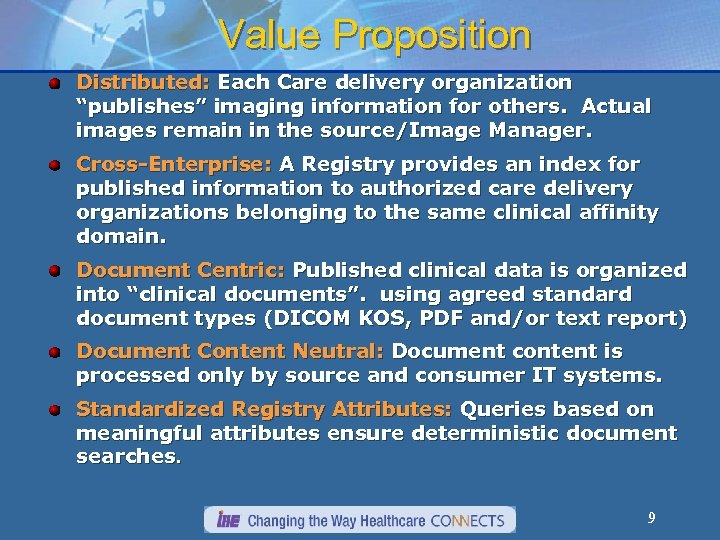 "Value Proposition Distributed: Each Care delivery organization ""publishes"" imaging information for others. Actual images"