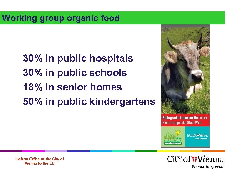 Working group organic food 30% in public hospitals 30% in public schools 18% in