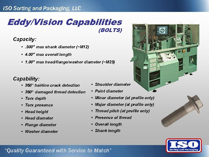 ISO Sorting and Packaging, LLC Eddy/Vision Capabilities (BOLTS) Capacity: • . 500
