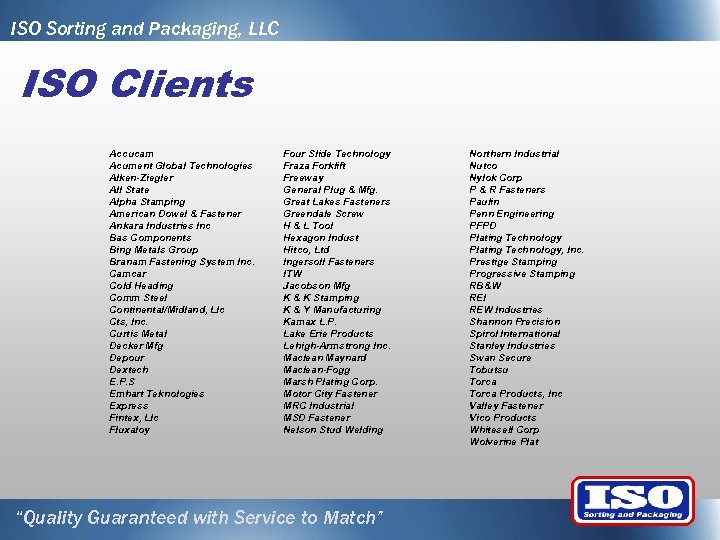 ISO Sorting and Packaging, LLC ISO Clients Accucam Acument Global Technologies Alken-Ziegler All State