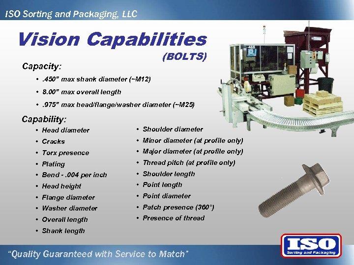 ISO Sorting and Packaging, LLC Vision Capabilities (BOLTS) Capacity: • . 450