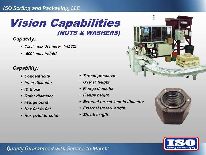 ISO Sorting and Packaging, LLC Vision Capabilities Capacity: (NUTS & WASHERS) • 1. 25