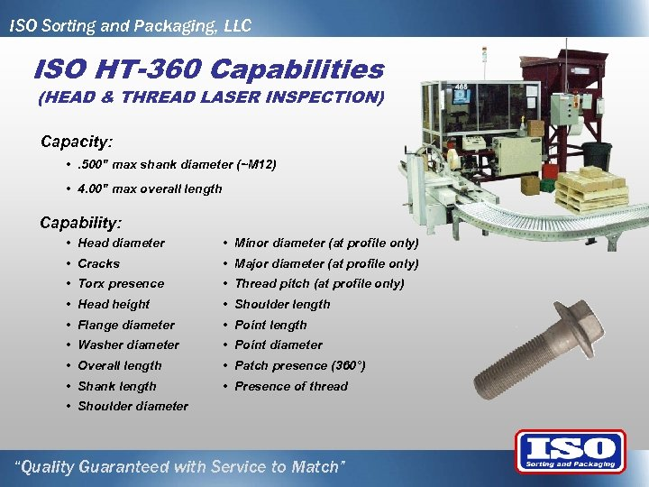 ISO Sorting and Packaging, LLC ISO HT-360 Capabilities (HEAD & THREAD LASER INSPECTION) Capacity: