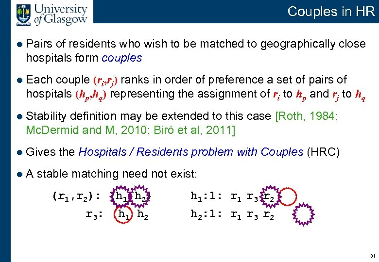Couples in HR l Pairs of residents who wish to be matched to geographically