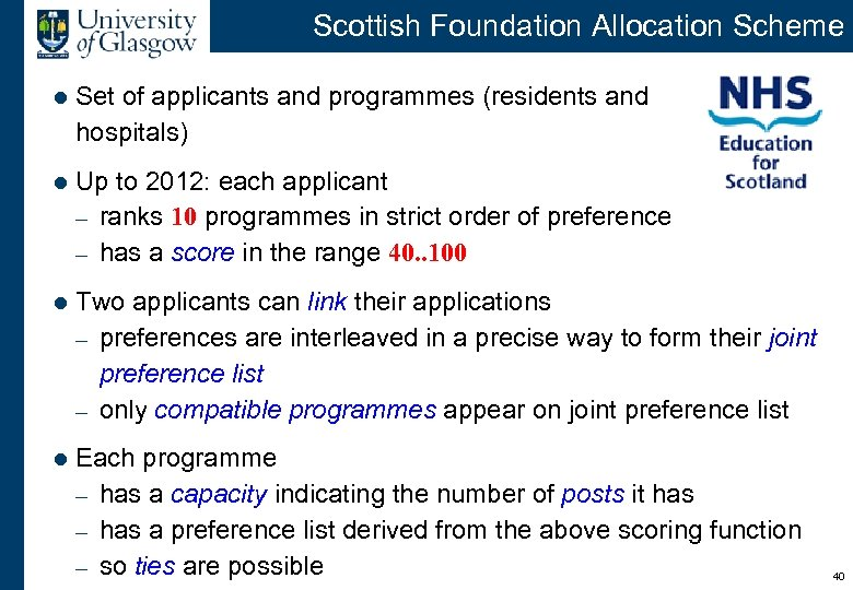Scottish Foundation Allocation Scheme l Set of applicants and programmes (residents and hospitals) l