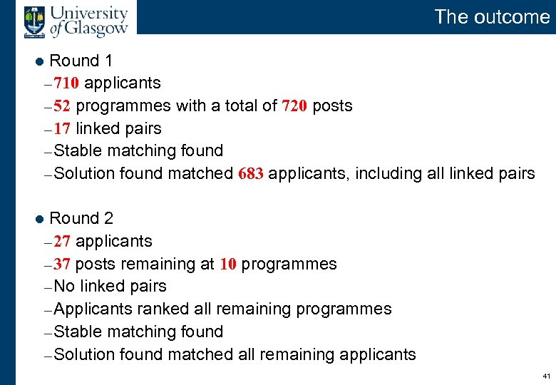 The outcome Round 1 – 710 applicants – 52 programmes with a total of