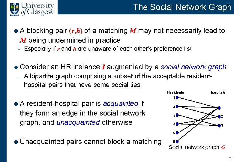 The Social Network Graph l A blocking pair (r, h) of a matching M