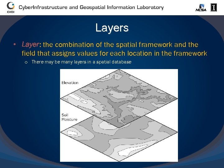 Layers • Layer: the combination of the spatial framework and the field that assigns