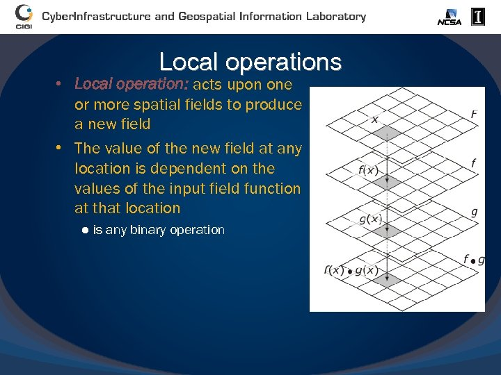 Local operations • Local operation: acts upon one or more spatial fields to produce