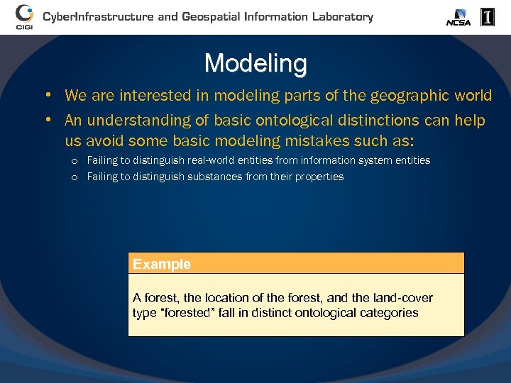Modeling • We are interested in modeling parts of the geographic world • An