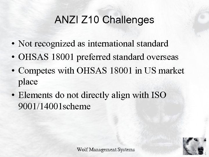 ANZI Z 10 Challenges • Not recognized as international standard • OHSAS 18001 preferred