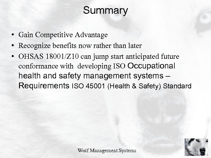 Summary • Gain Competitive Advantage • Recognize benefits now rather than later • OHSAS