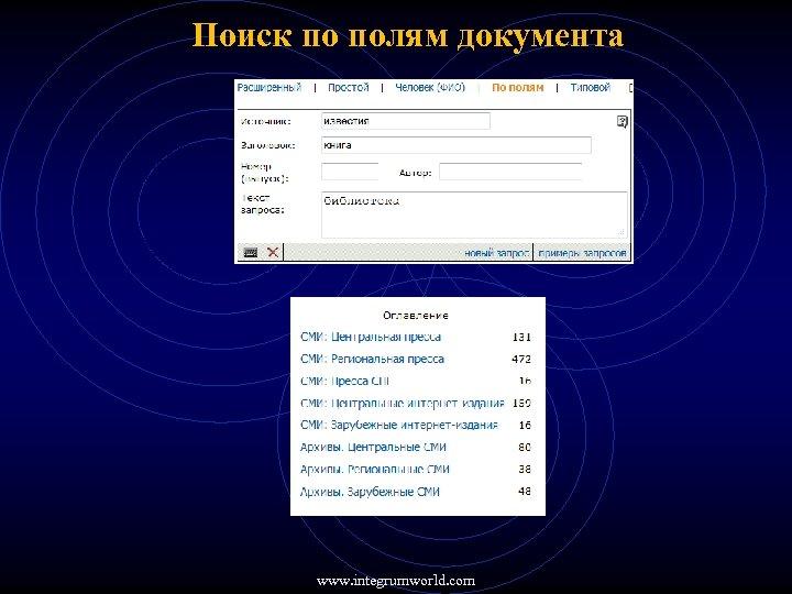 Поиск по полям документа www. integrumworld. com