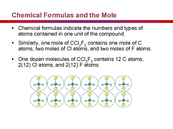Chemical Formulas and the Mole • Chemical formulas indicate the numbers and types of