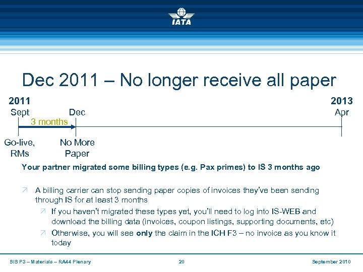 Dec 2011 – No longer receive all paper 2011 Sept 2013 3 months Go-live,