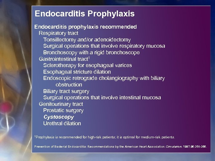 Endocarditis Prophylaxis Endocarditis prophylaxis recommended Respiratory tract Tonsillectomy and/or adenoidectomy Surgical operations that involve