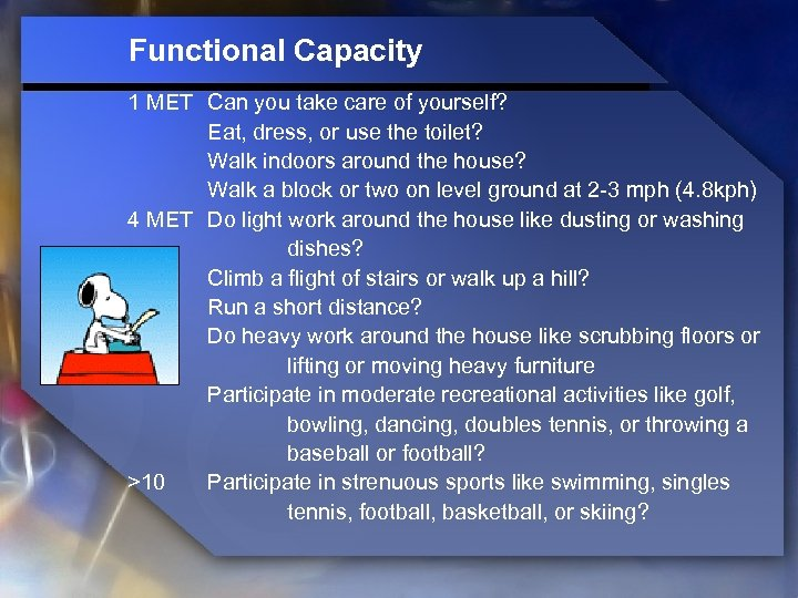 Functional Capacity 1 MET Can you take care of yourself? Eat, dress, or use