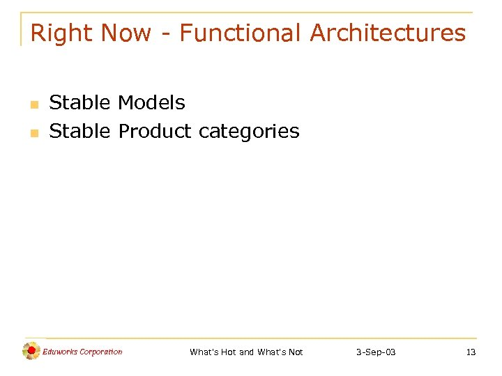 Right Now - Functional Architectures n n Stable Models Stable Product categories Eduworks Corporation