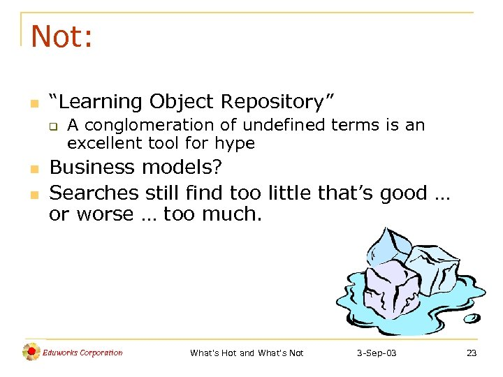 """Not: n """"Learning Object Repository"""" q n n A conglomeration of undefined terms is"""