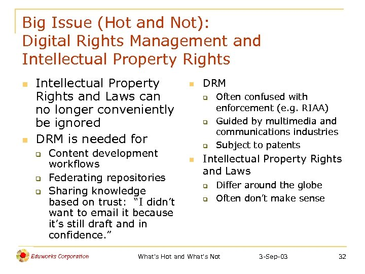 Big Issue (Hot and Not): Digital Rights Management and Intellectual Property Rights n n