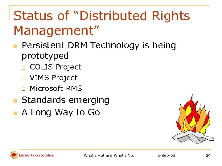 """Status of """"Distributed Rights Management"""" n Persistent DRM Technology is being prototyped q q"""