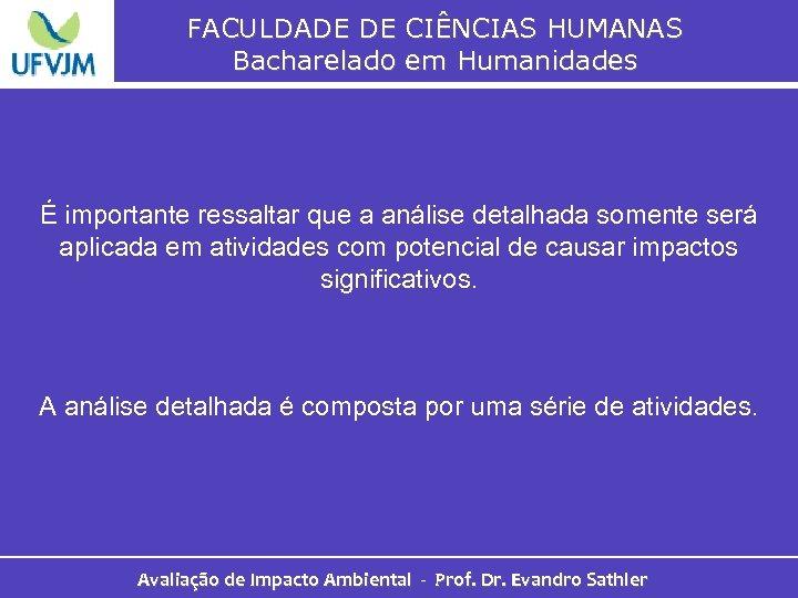 FACULDADE DE CIÊNCIAS HUMANAS Bacharelado em Humanidades É importante ressaltar que a análise detalhada