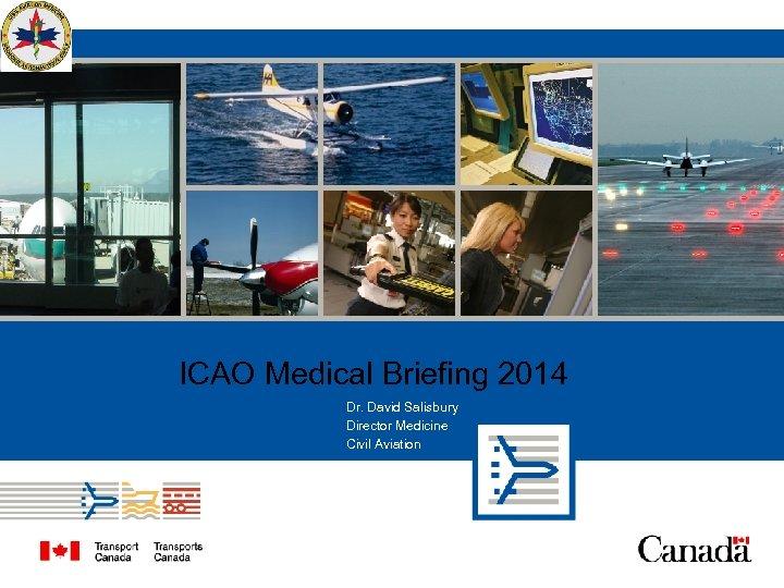 ICAO Medical Briefing 2014 Dr. David Salisbury Director Medicine Civil Aviation
