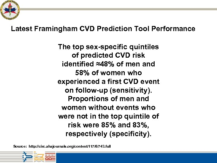 Latest Framingham CVD Prediction Tool Performance The top sex-specific quintiles of predicted CVD risk