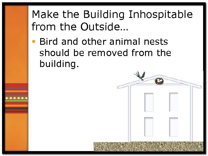 Make the Building Inhospitable from the Outside… § Bird and other animal nests should