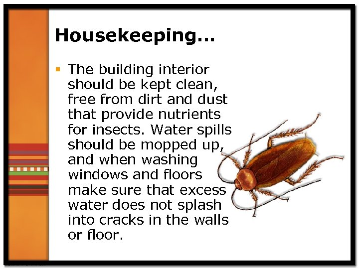 Housekeeping… § The building interior should be kept clean, free from dirt and dust