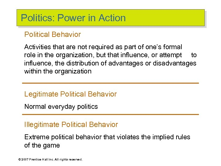 Politics: Power in Action Political Behavior Activities that are not required as part of