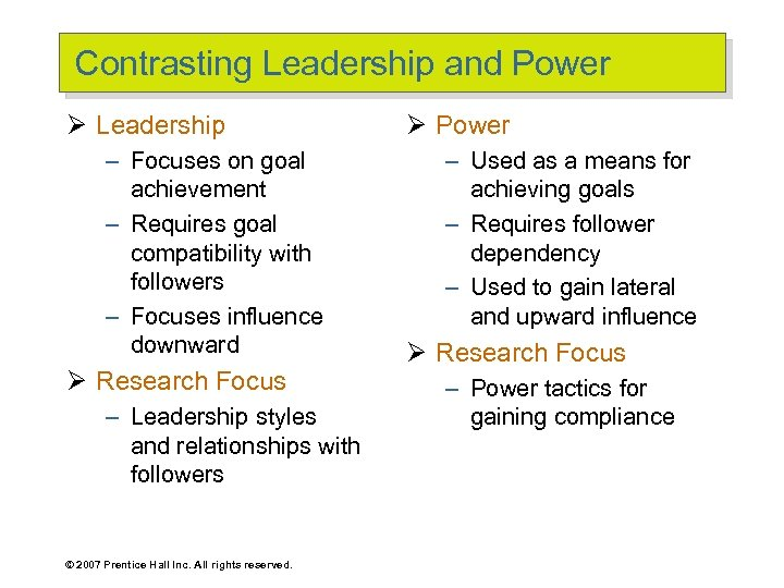 Contrasting Leadership and Power Ø Leadership – Focuses on goal achievement – Requires goal