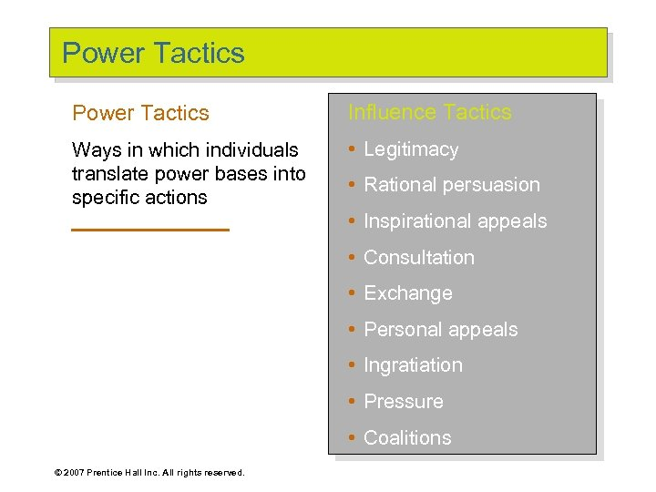 Power Tactics Influence Tactics Ways in which individuals translate power bases into specific actions