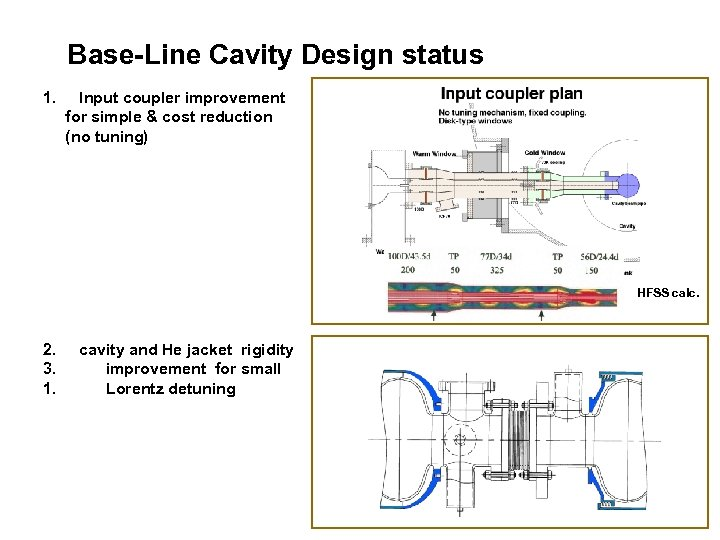 Base-Line Cavity Design status 1. Input coupler improvement for simple & cost reduction (no