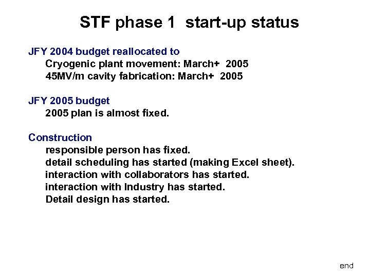 STF phase 1 start-up status JFY 2004 budget reallocated to Cryogenic plant movement: March+