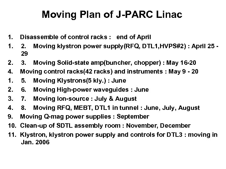 Moving Plan of J-PARC Linac 1. 1. Disassemble of control racks : end of