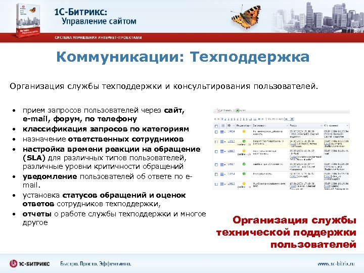 Коммуникации: Техподдержка Организация службы техподдержки и консультирования пользователей. • прием запросов пользователей через сайт,