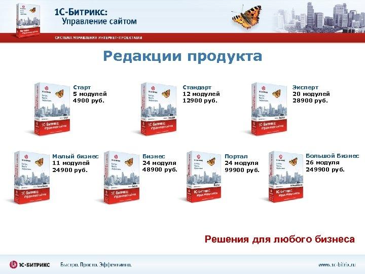 Редакции продукта Стандарт 12 модулей 12900 руб. Старт 5 модулей 4900 руб. Малый бизнес