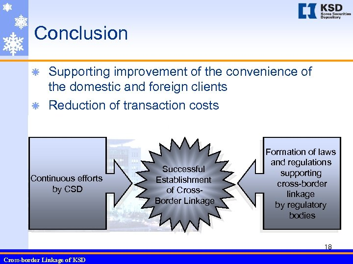 Conclusion Supporting improvement of the convenience of the domestic and foreign clients ã Reduction