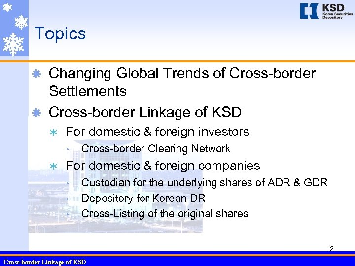 Topics Changing Global Trends of Cross-border Settlements ã Cross-border Linkage of KSD ã Ý