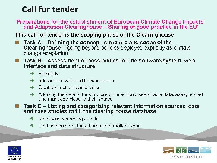 Call for tender 'Preparations for the establishment of European Climate Change Impacts and Adaptation