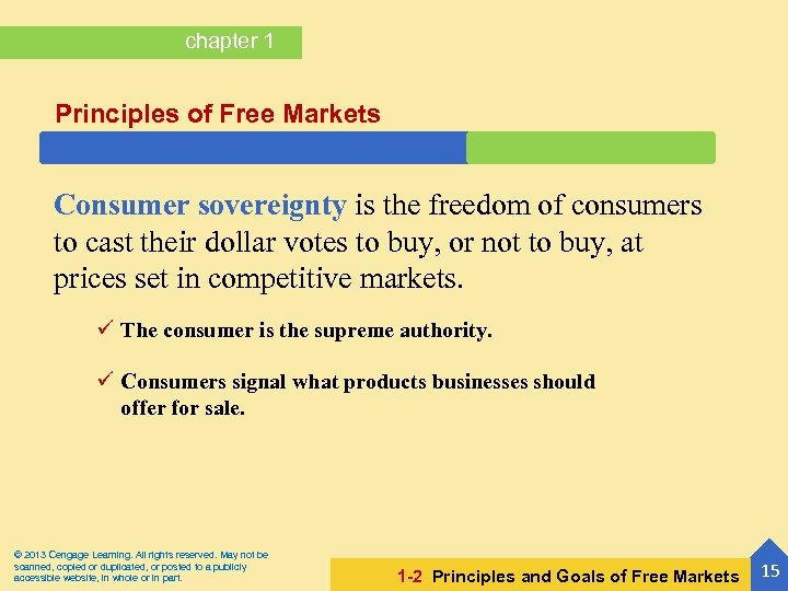 chapter 1 Principles of Free Markets Consumer sovereignty is the freedom of consumers to