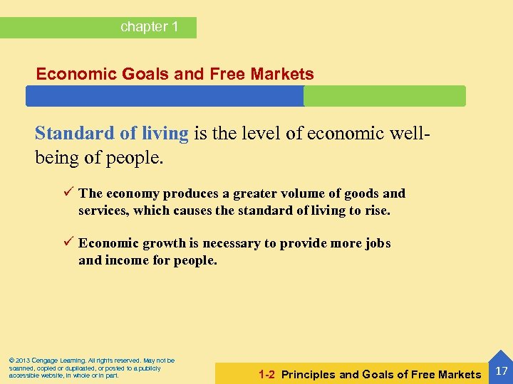 chapter 1 Economic Goals and Free Markets Standard of living is the level of