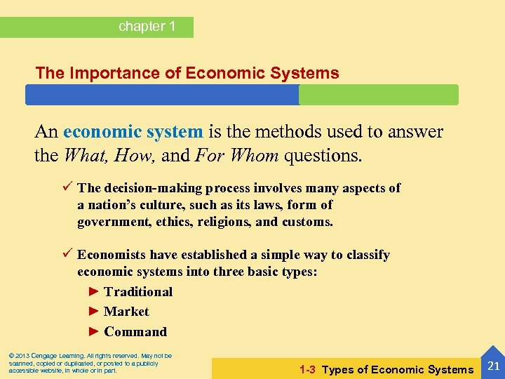 chapter 1 The Importance of Economic Systems An economic system is the methods used