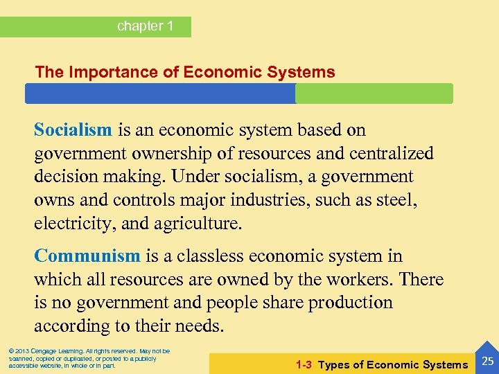 chapter 1 The Importance of Economic Systems Socialism is an economic system based on